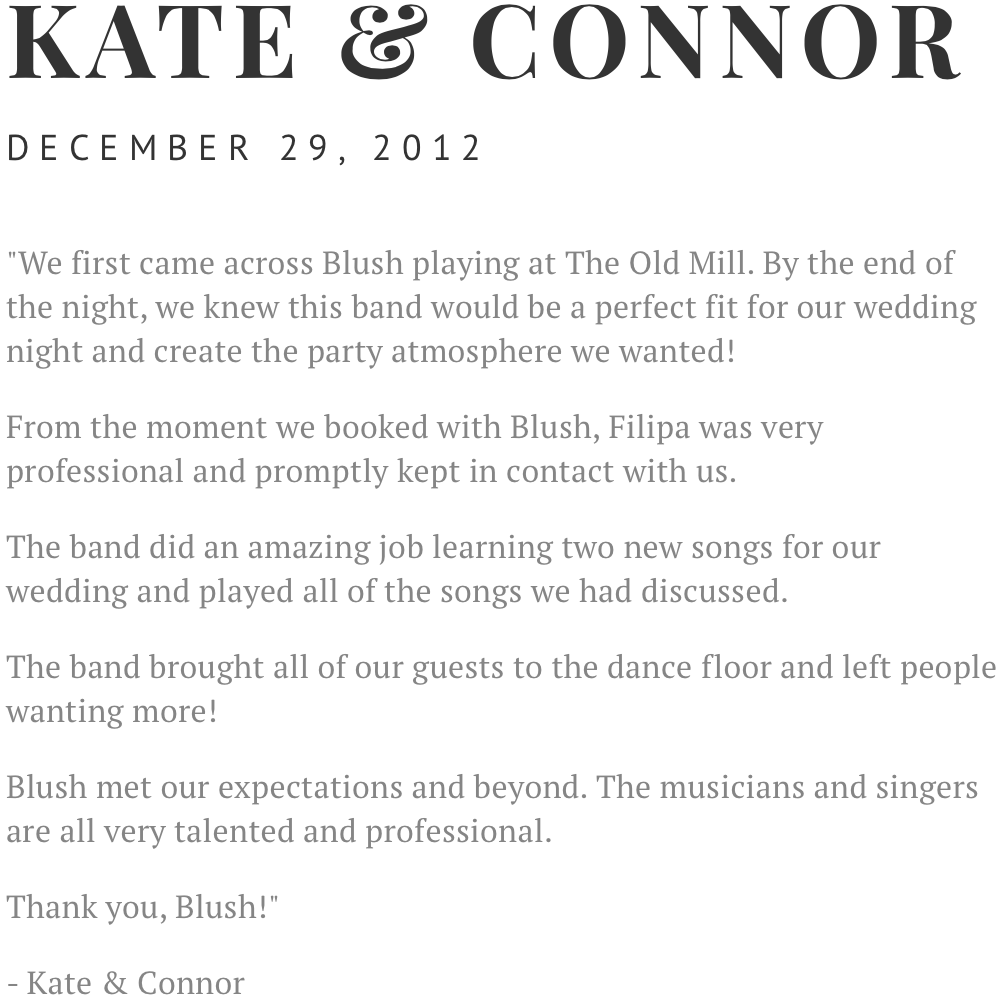 Kate Connor Wedding Review Testimonial Distillery District Toronto The Fermenting Cellar Blush Band Live Entertainment