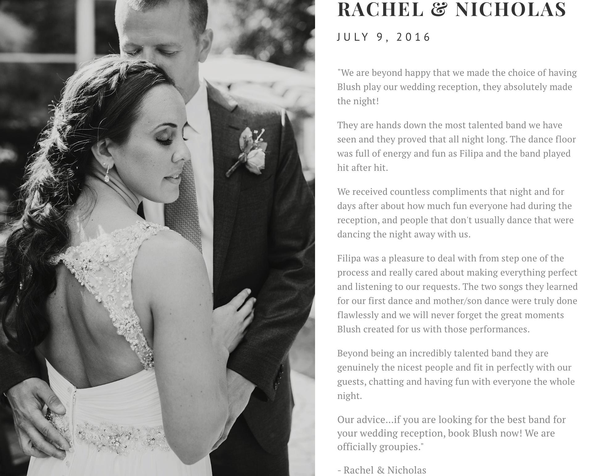 blush band toronto wedding review nicholas rachel demonte buffalo usa top 40 cover dance rock premium live entertainment