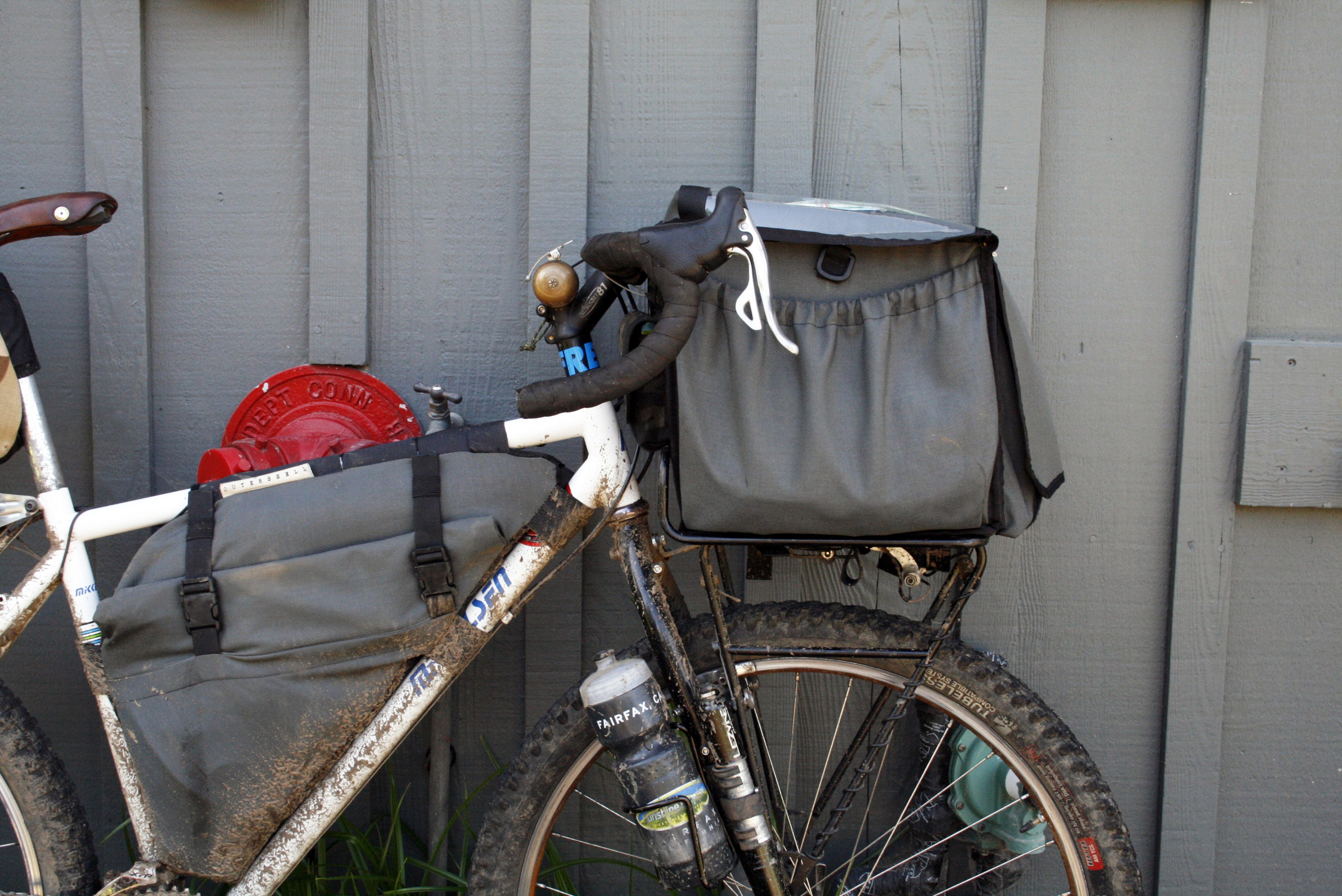 Outer Shell Rack Bag and Sideroll Frame Bag