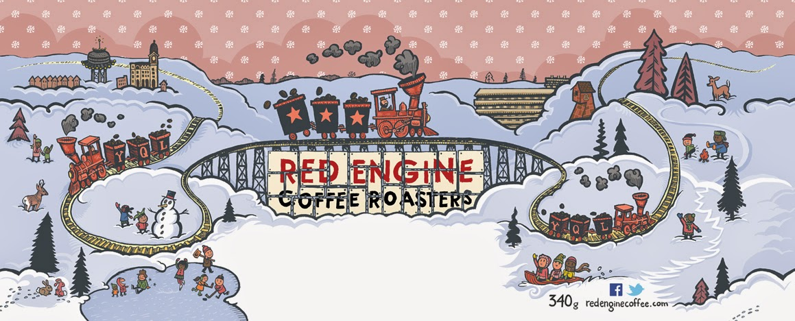 Collector Tin Illustration, 2013  Red Engine Coffee Roasters