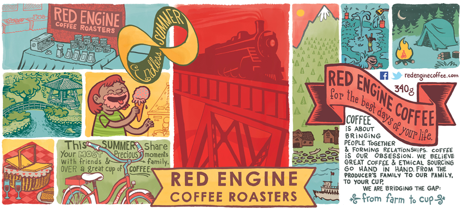 Collector Tin Illustration, 2014  Red Engine Coffee Roasters