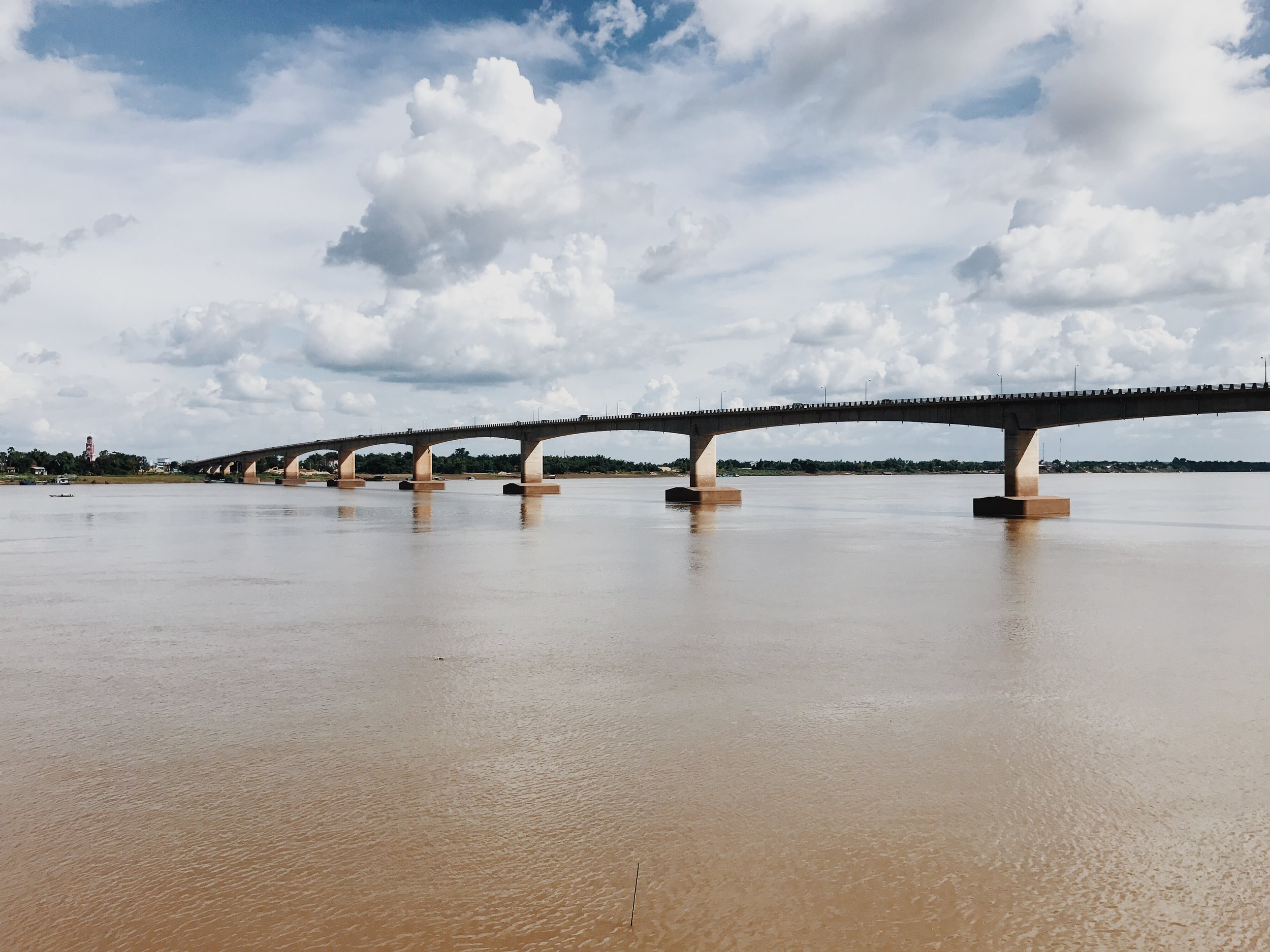 The view of the first bridge to be built over the Mekong River just a few steps from the Pizzeria