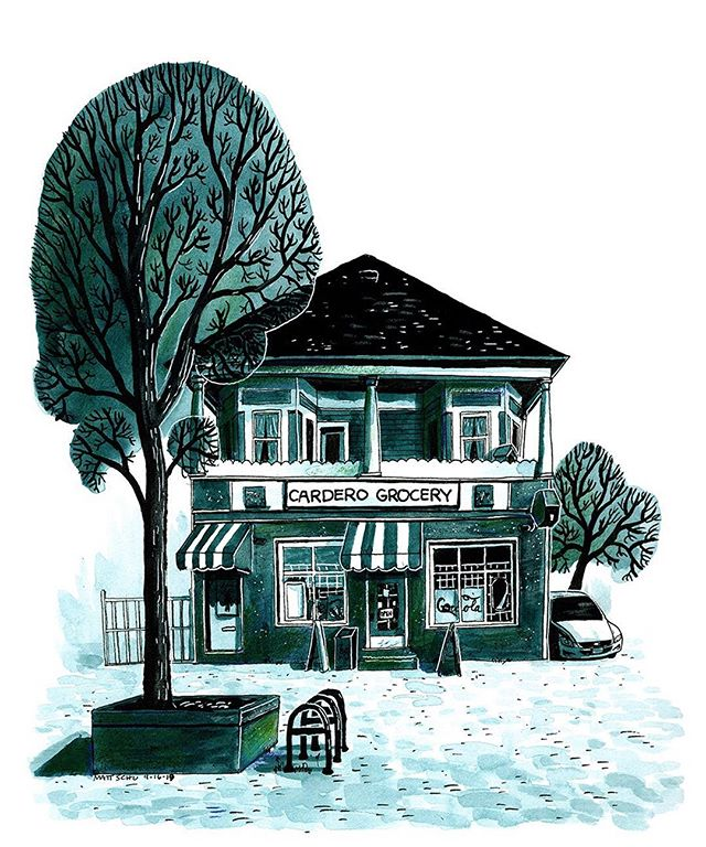 I went to Vancouver BC a few years ago and took a bunch of pictures with the intent of drawing some of them, but never got around to it until now. So here's a grocery store near the water as it looked on a Thursday in 2016.  #illustration #ink #drawing #painting