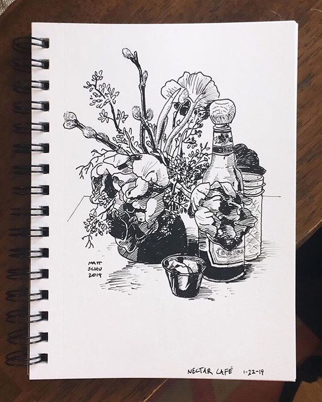 Sketch from a few months ago @nectarcafeportland .  #fbf #drawing #illustration #portland #ink