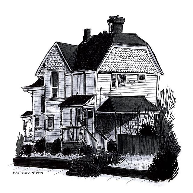 Saw this cool house recently, so I drew it.  #illustration #drawing #portland #ink #house