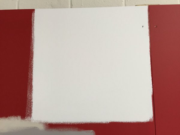 2 coats of 'super white' over red