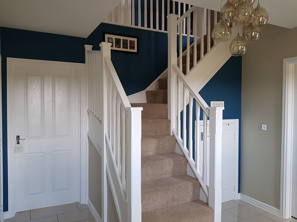 Hall, stairs & landing completed using Benjamin Moore paints in Swindon, Wiltshire