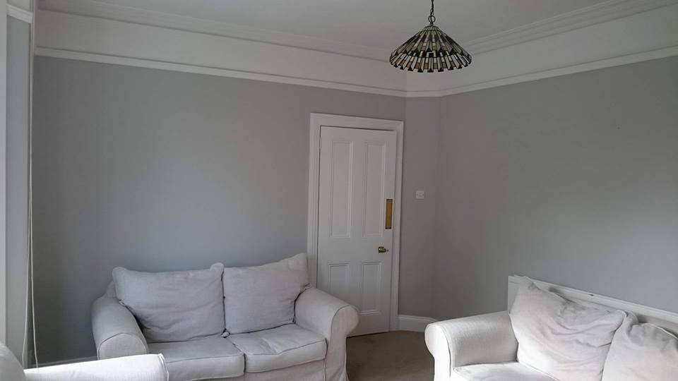 ounge painting completed using Benjamin Moore 'cement gray' in Swindon, Wiltshire