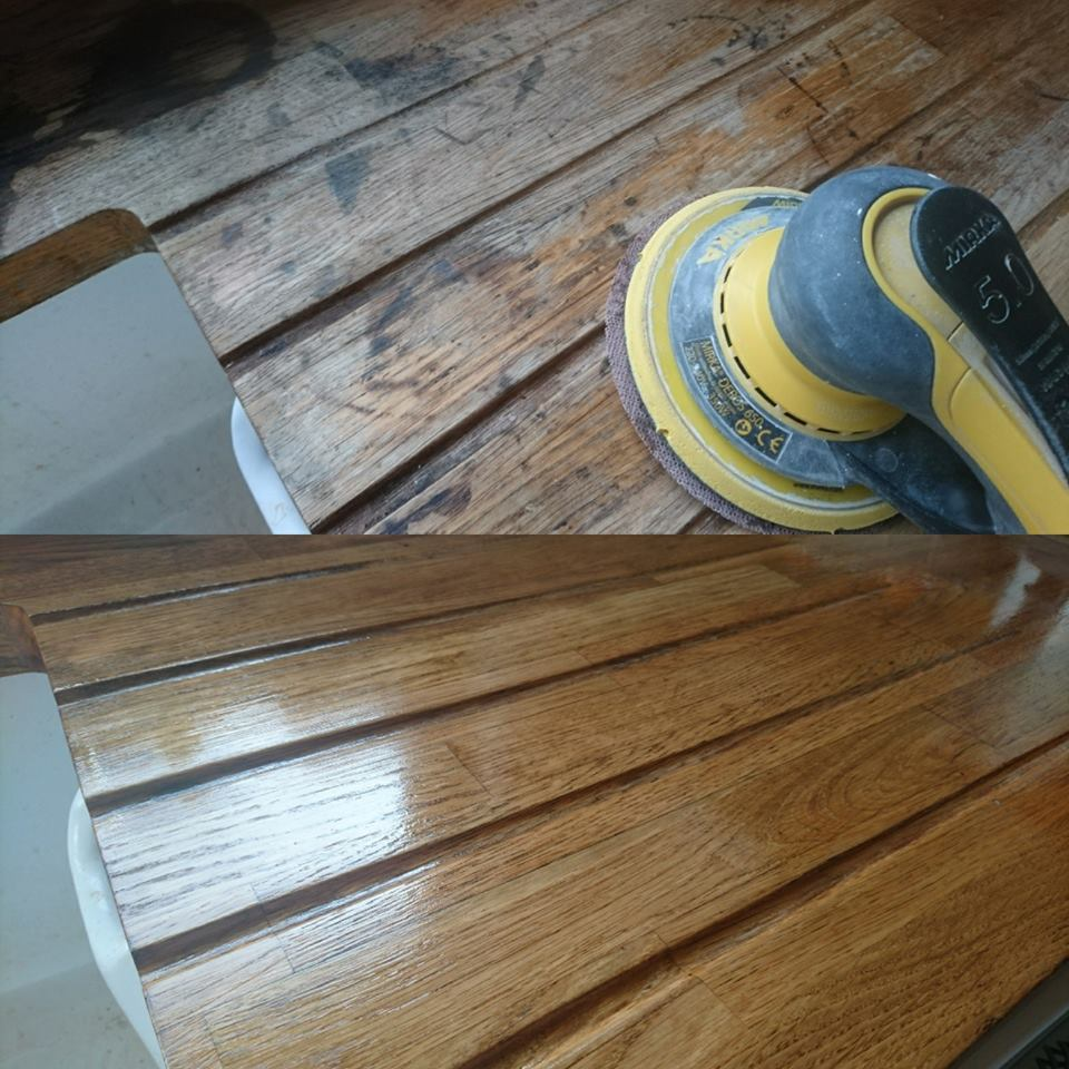 Worktop sanding and refinishing with osmo oil in Oxfordshire