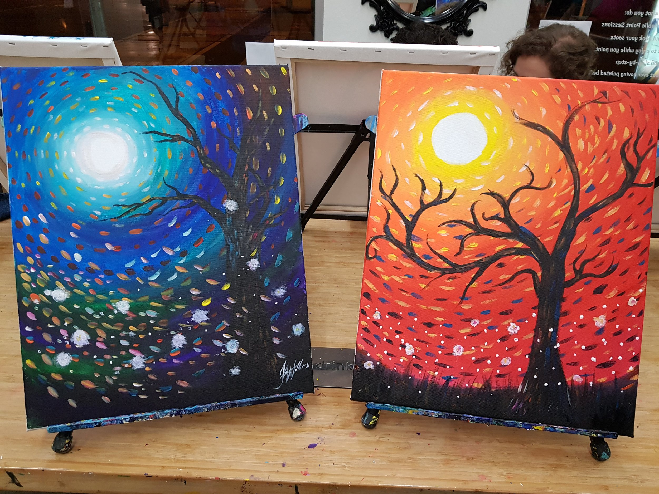 Acrylics - One of the first sessions we did together was an acrylics session where we painted tree silhouettes.Li's painting is the one on the right and if you can believe it, this was her first ever painting. Ever.The next acrylic session we did together was a 'paint your mate' session, where the portrait style was quite stylised. It was mean to be in the style of Pablo Picasso, but my painting of Li ended up looking like something out of Futurama!