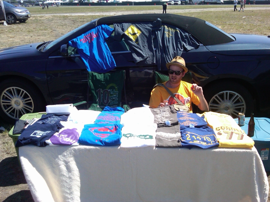 Manning the booth at Bader Field!