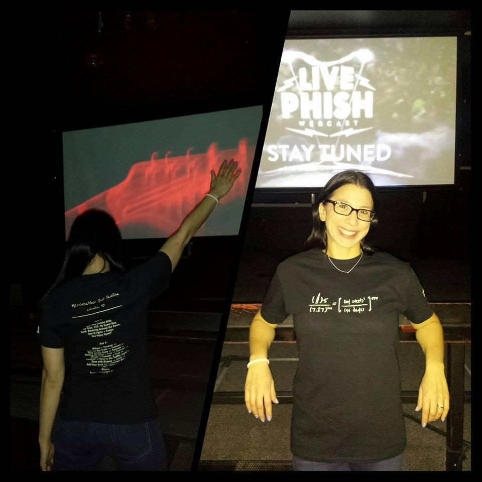 So apparently at a bar in Colorado, they do a thing called First Tubesday, where on the first Tuesday of every month they play the video of an entire Phish show for local Phans to enjoy. For June, the show they picked was the instant classic from last summer at MPP on 7/27. We'd like to start today off with a huge thank you to one of our favorite customers Rachel Saltzman (aka  @Tubegal ) who not only represented by wearing  her 7/27/14 SetListTee  to the event, but also sent us pictures of her rocking it while she was there! Thanks Rachel! You are awesome!
