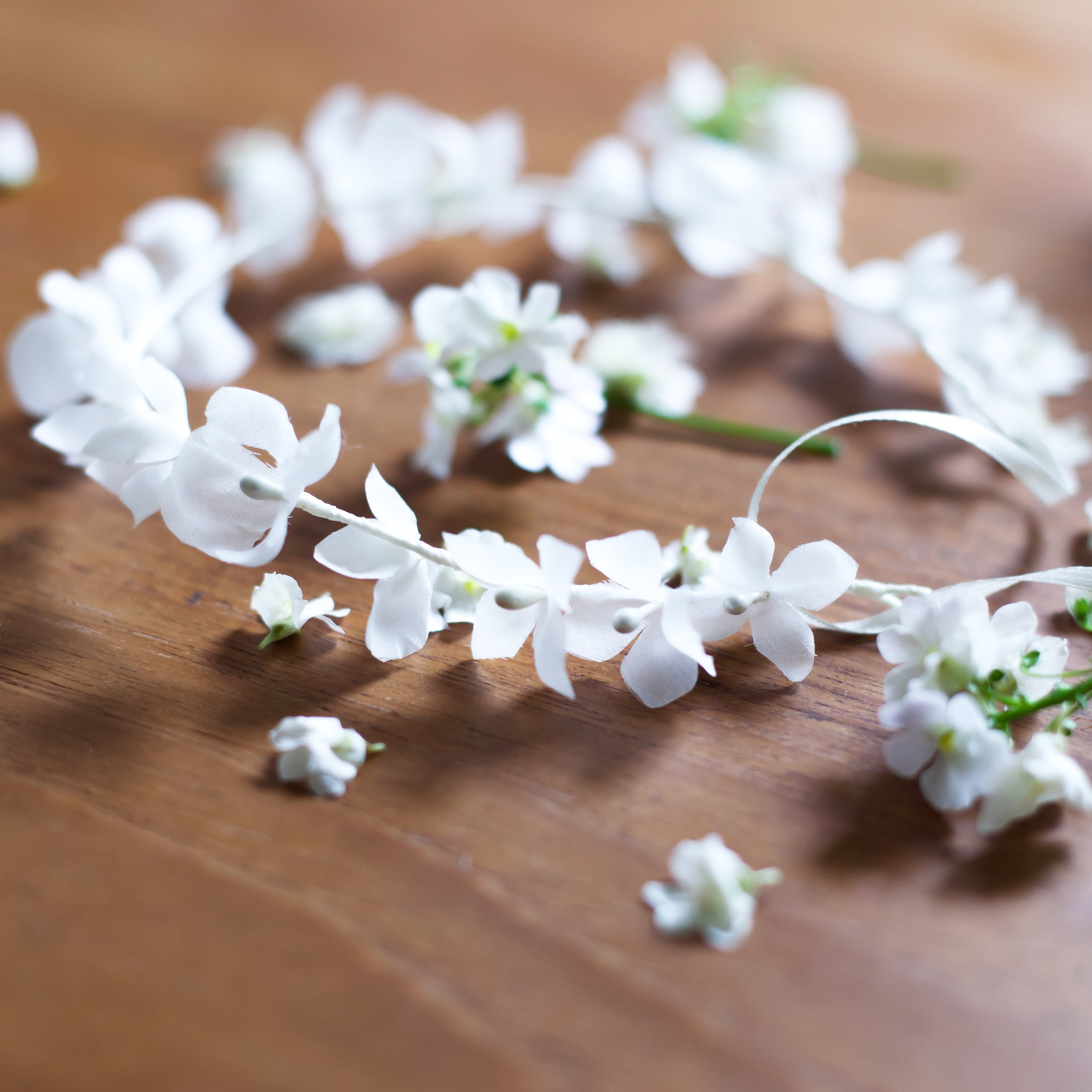 Sneak peek at one of the new pieces - delicate hydrangea silk flower halo for a summer bride
