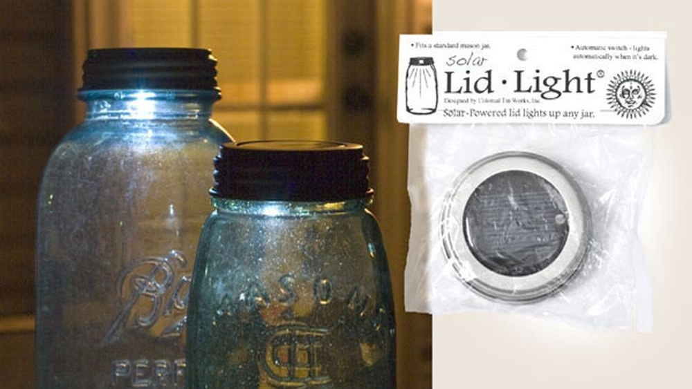One brand of solar lid light, fitting standardmouth jars.