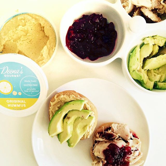 Another Round 2 Recipe! Use up even more Thanksgiving leftovers with this Hummus sandwich 😋. Dinner roll, Turkey, Cranberry sauce, avocado and a shmear of Hummus! (We used Deena's Gourmet Original). Yum. Happy weekend everyone! #thanksgiving #leftovers #hummus #local #turkey #sandwich