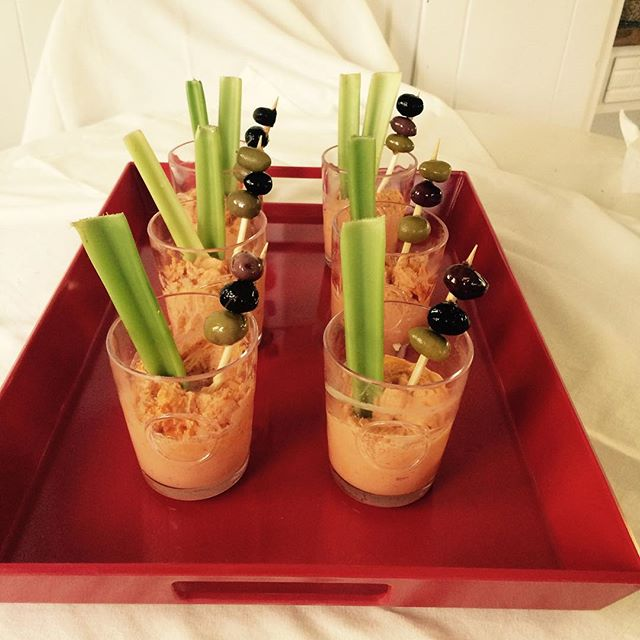 It's a Happy New Year with Deena's new Bloody Mary Dip! Use it to make these fun shot glass dippers. #newyearseve #appetizers #dips #local #