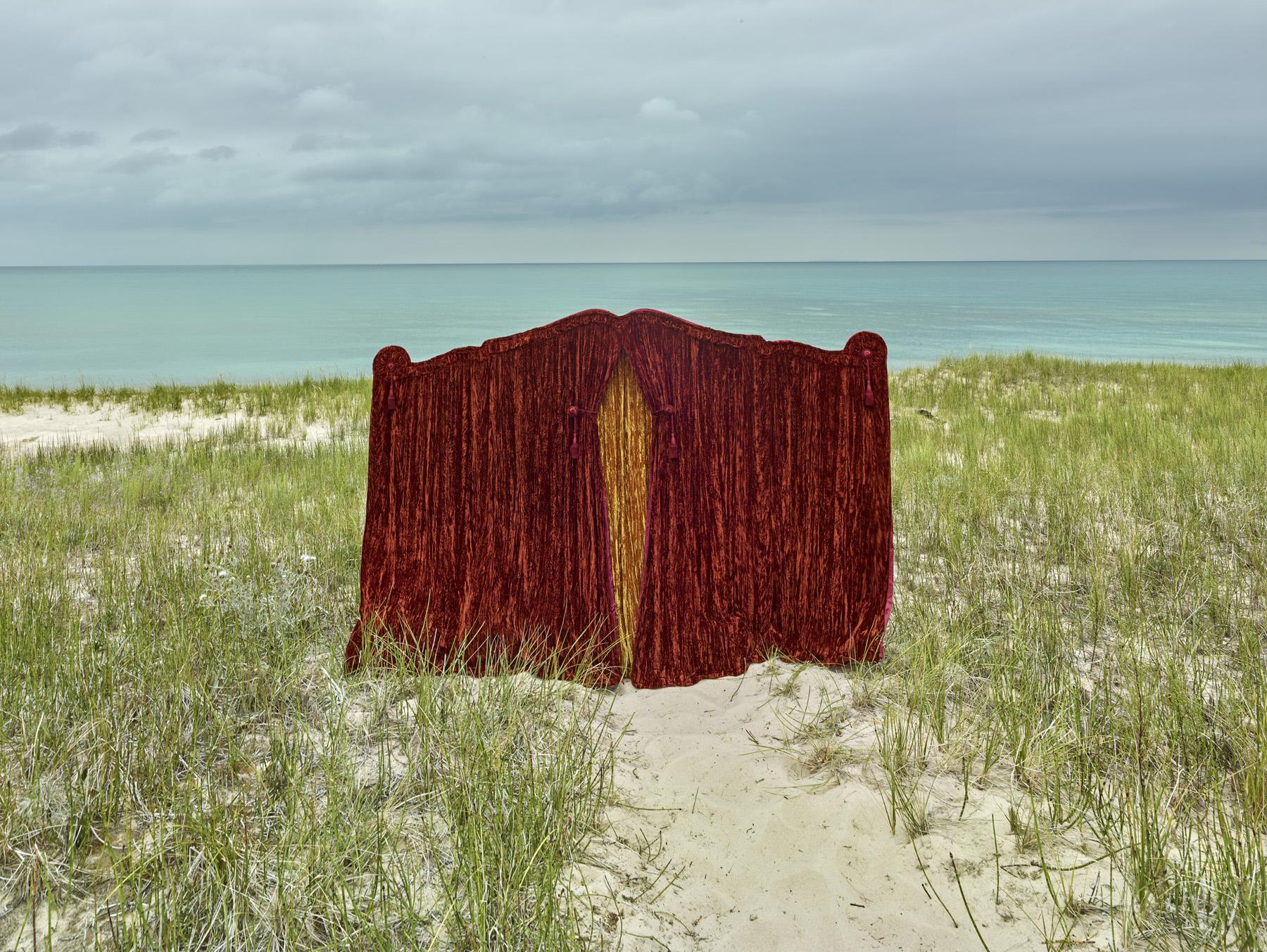 Funeral curtain  Cat Head Bay, Lake Michigan