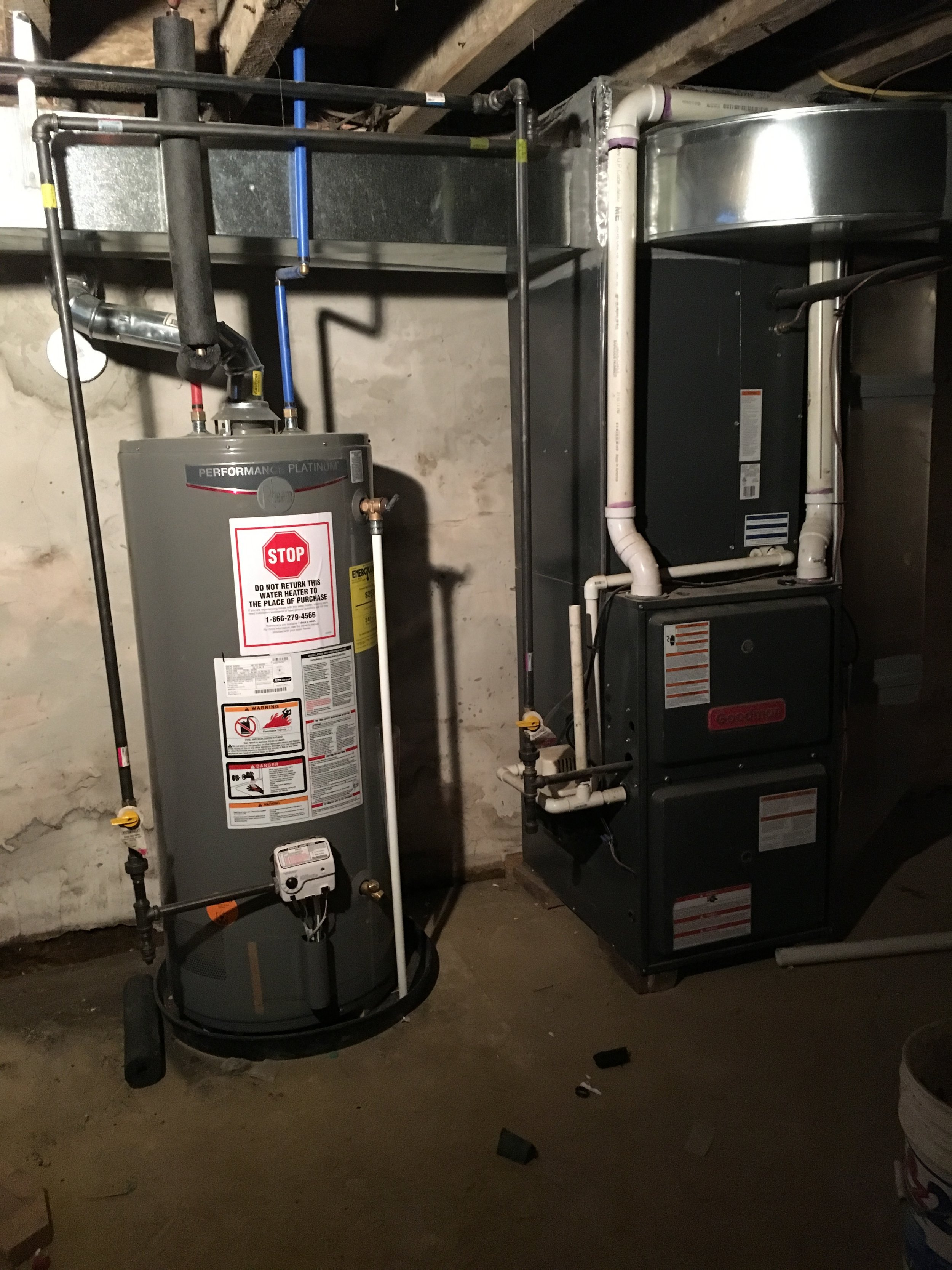 Hot Water Heater and Gas Furnace in Basement