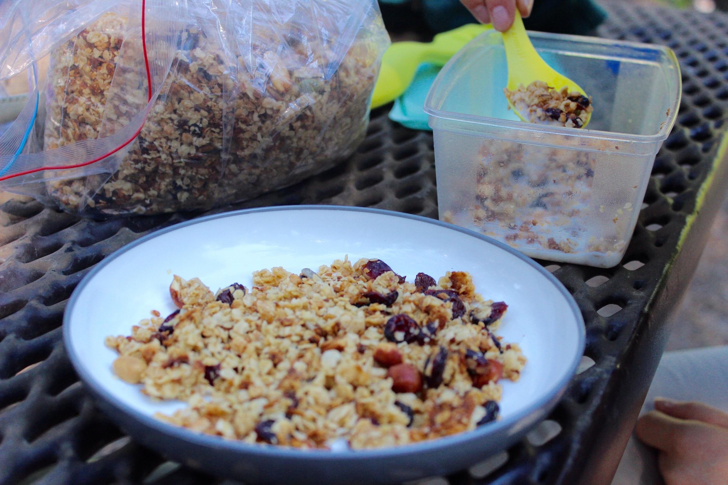 Homemade granola for breakfast