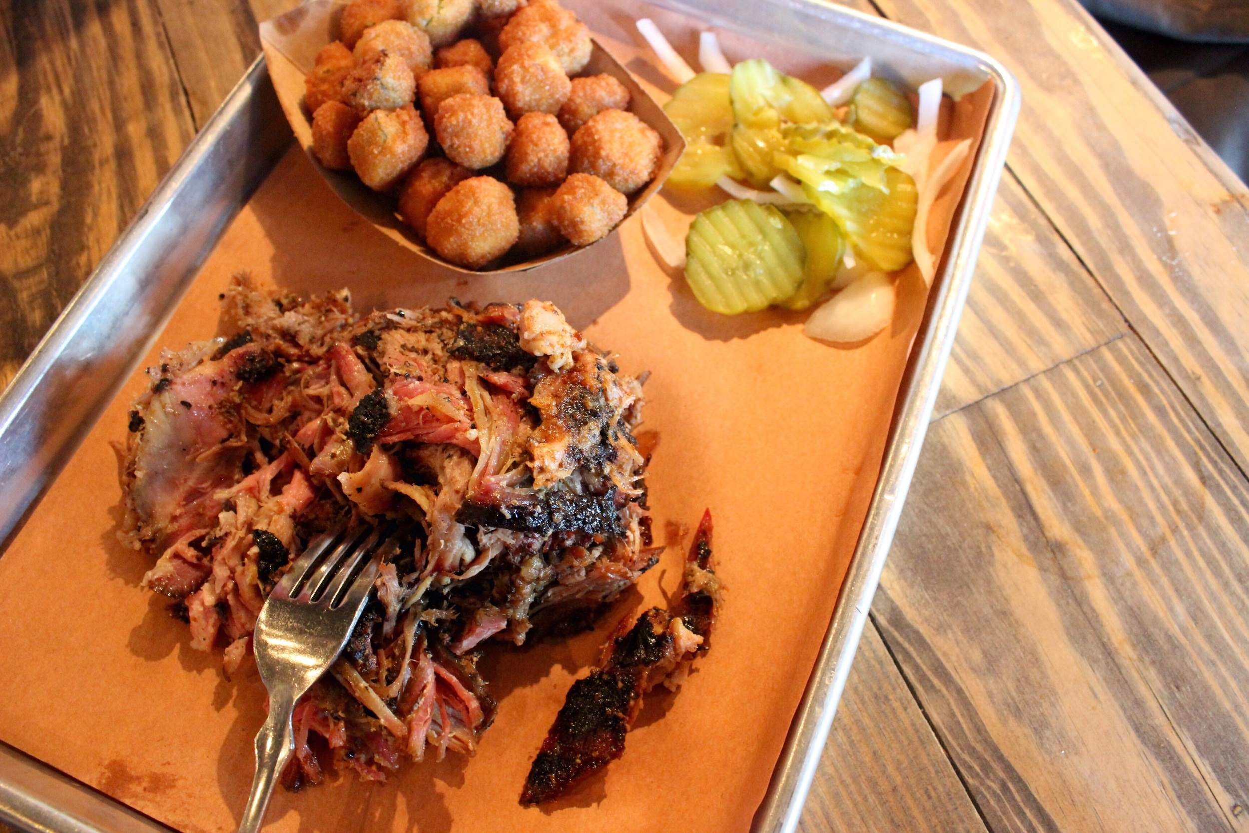 Pulled pork, fried okra