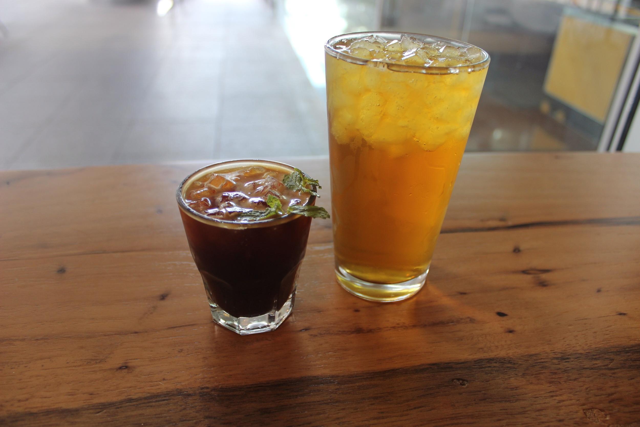 Coffee julip and green iced tea