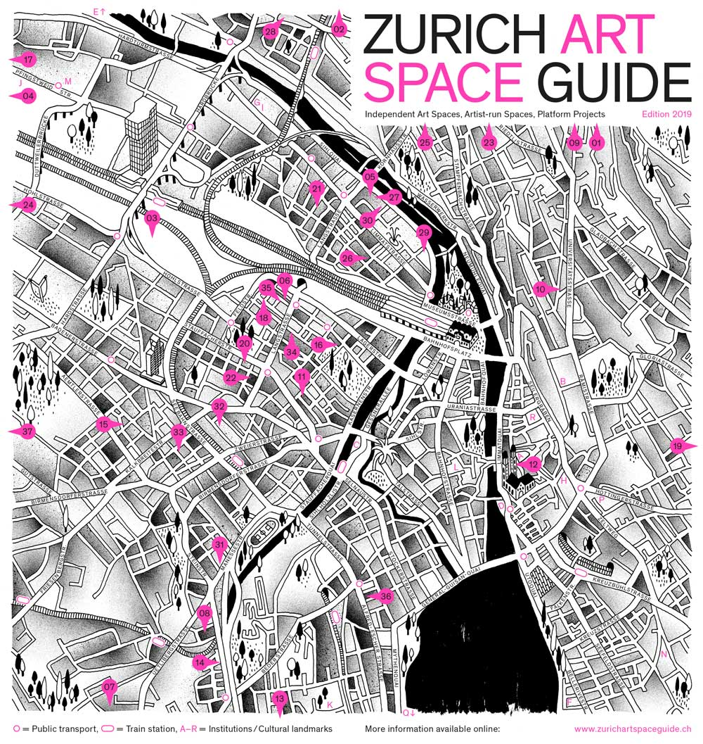 When I first arrived in Zurich, I was surprised to see that there was no exhausting listing of the many artist run spaces within the city. I decided to release an online listing which, teaming up with Fabio Kunz, Andreas Marti, Patrizia Mazzei and Badesaison, became a free printed guide released once a year. The webpage is updated regularly, showing the closing and opening of project spaces. Itinerant and outdoor projects are also listed.     Link to the ZASG website
