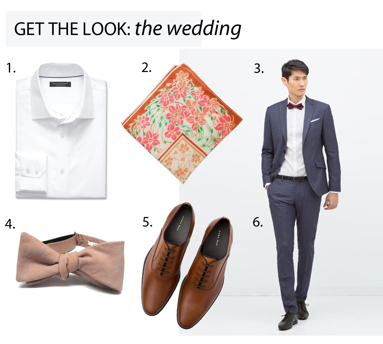 1. Classic Fit White Shirt, Banana Republic // 2. Vintage Floral Handkerchief, Kathrine Zeren // 3. Blue Suit Blazer, Zara // 4. Coral & Gray Bowtie, Kathrine Zeren // 5. Leather Grosgrain Lace-Ups, Zara // 6. Blue Suit Trouser, Zara