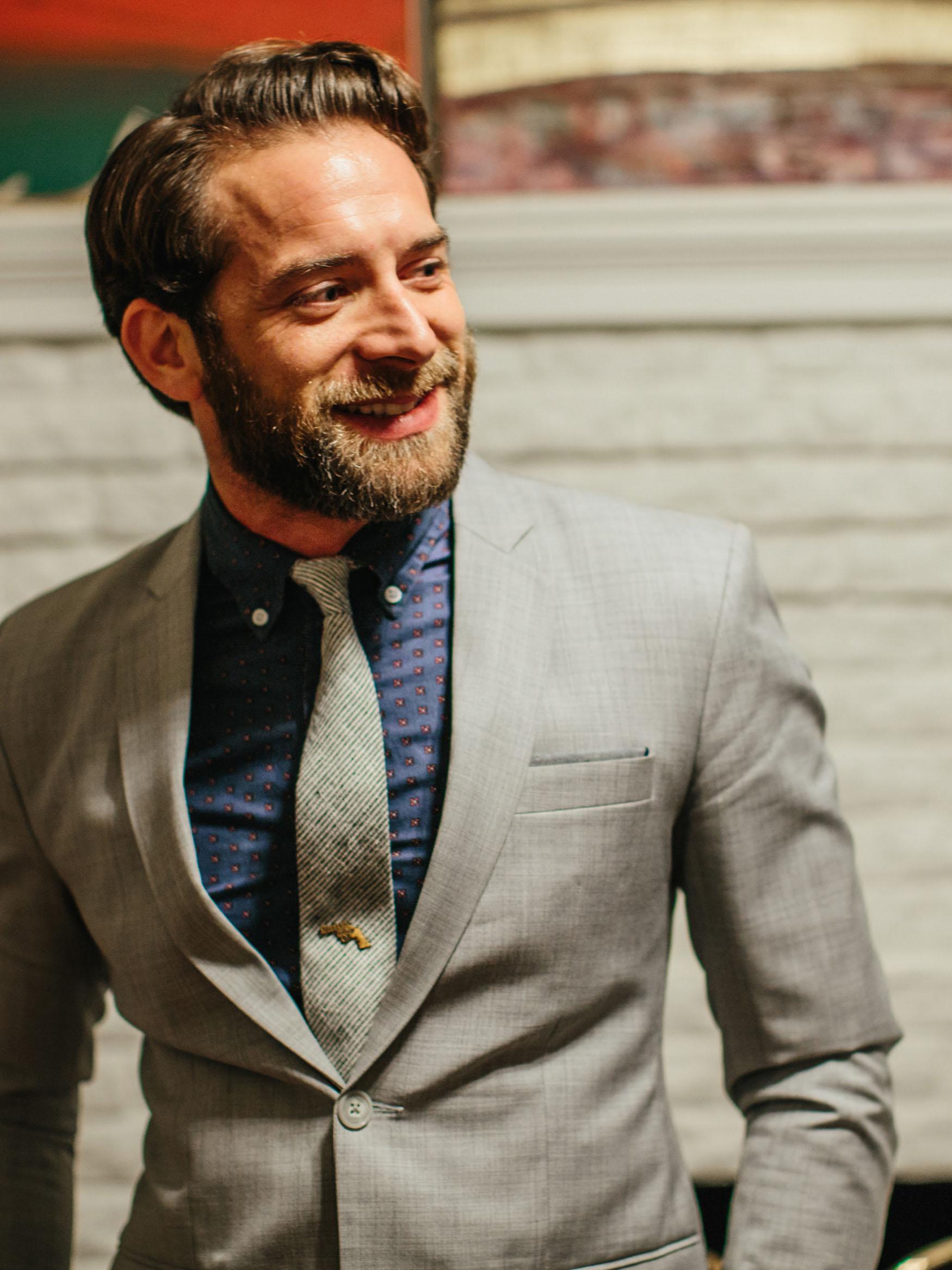 Grey & White Striped Necktie & Vintage Tie Tack