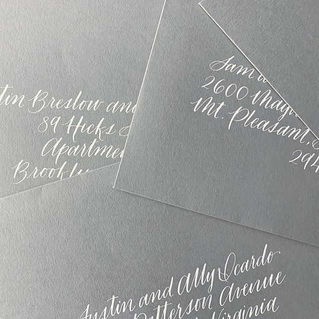envelope season is well on its way.... #weddingcalligraphy #moderncalligraphy #achaneystudio #weddinginvitations #weddingenvelopes #envelopeart #flourishforum #calligraphy