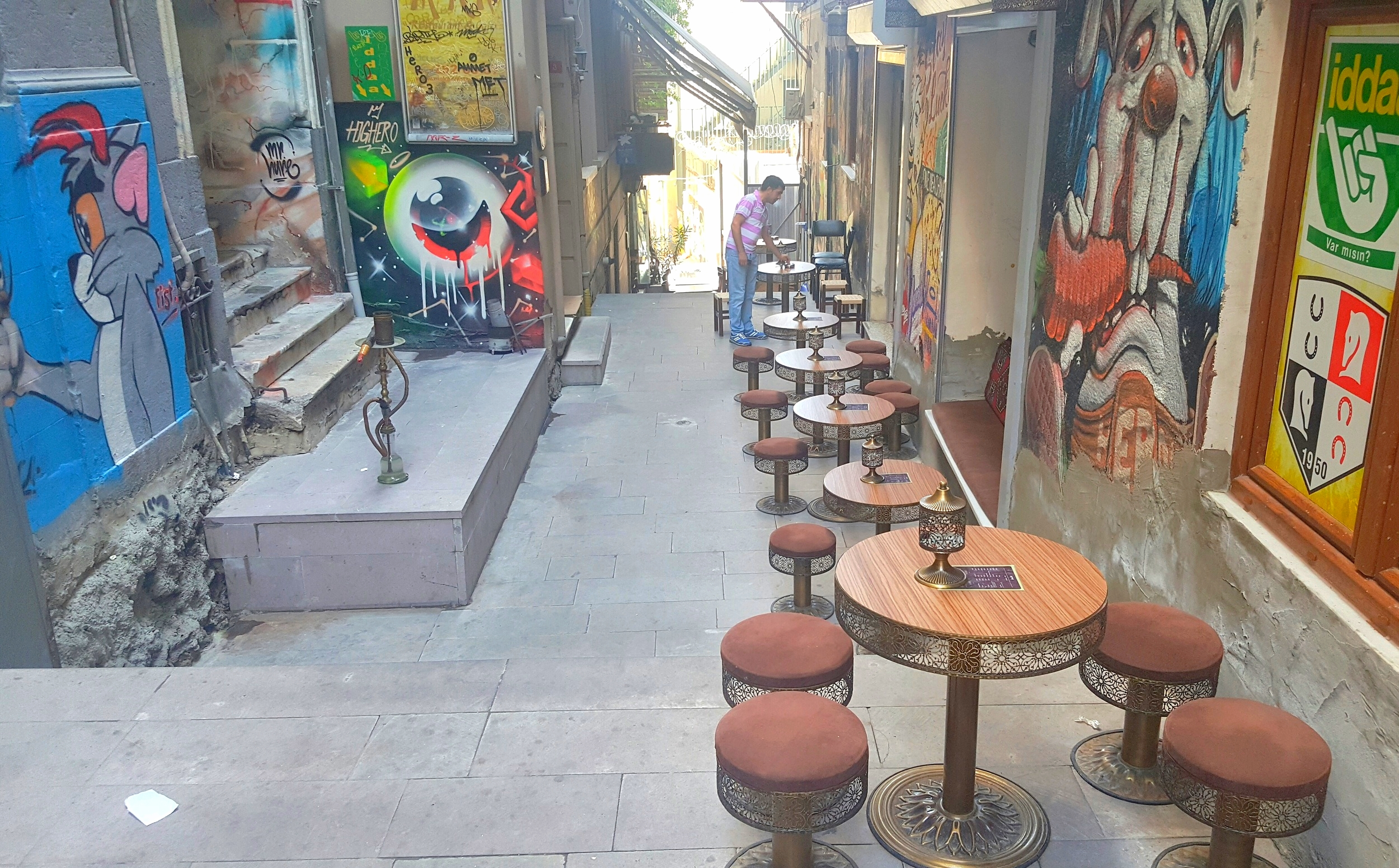 Turkish cafe on a side street off Istiklal Caddesi.
