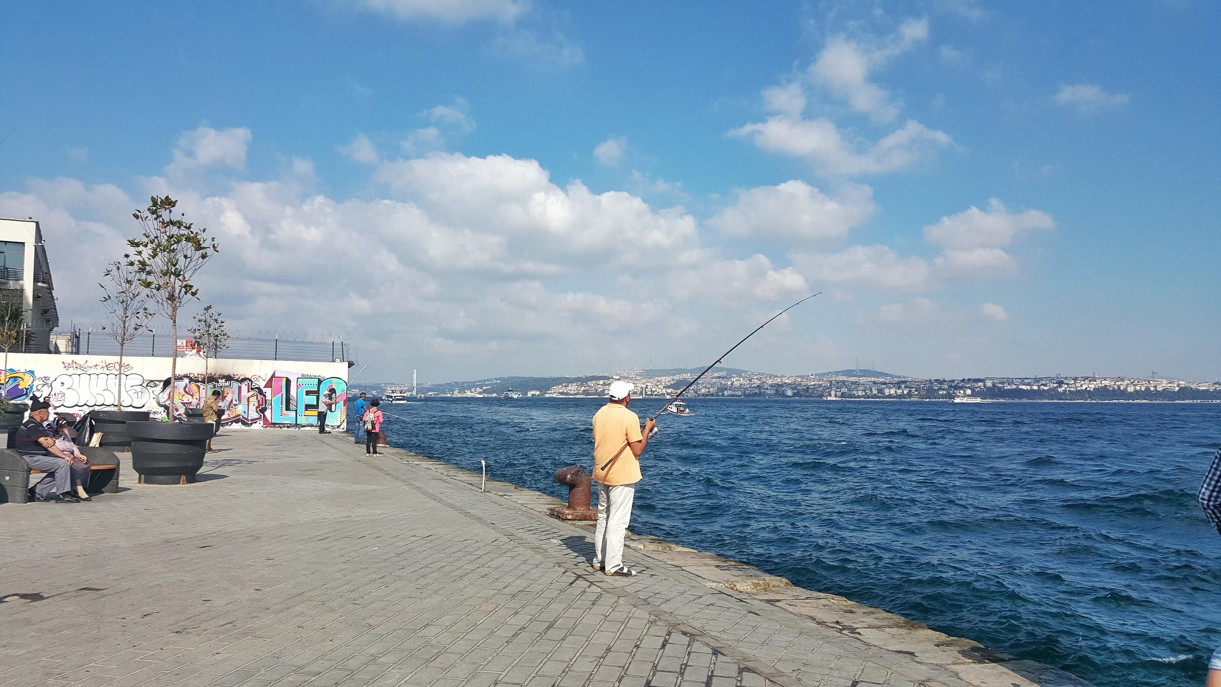 Fisherman at Karakoy Pier.