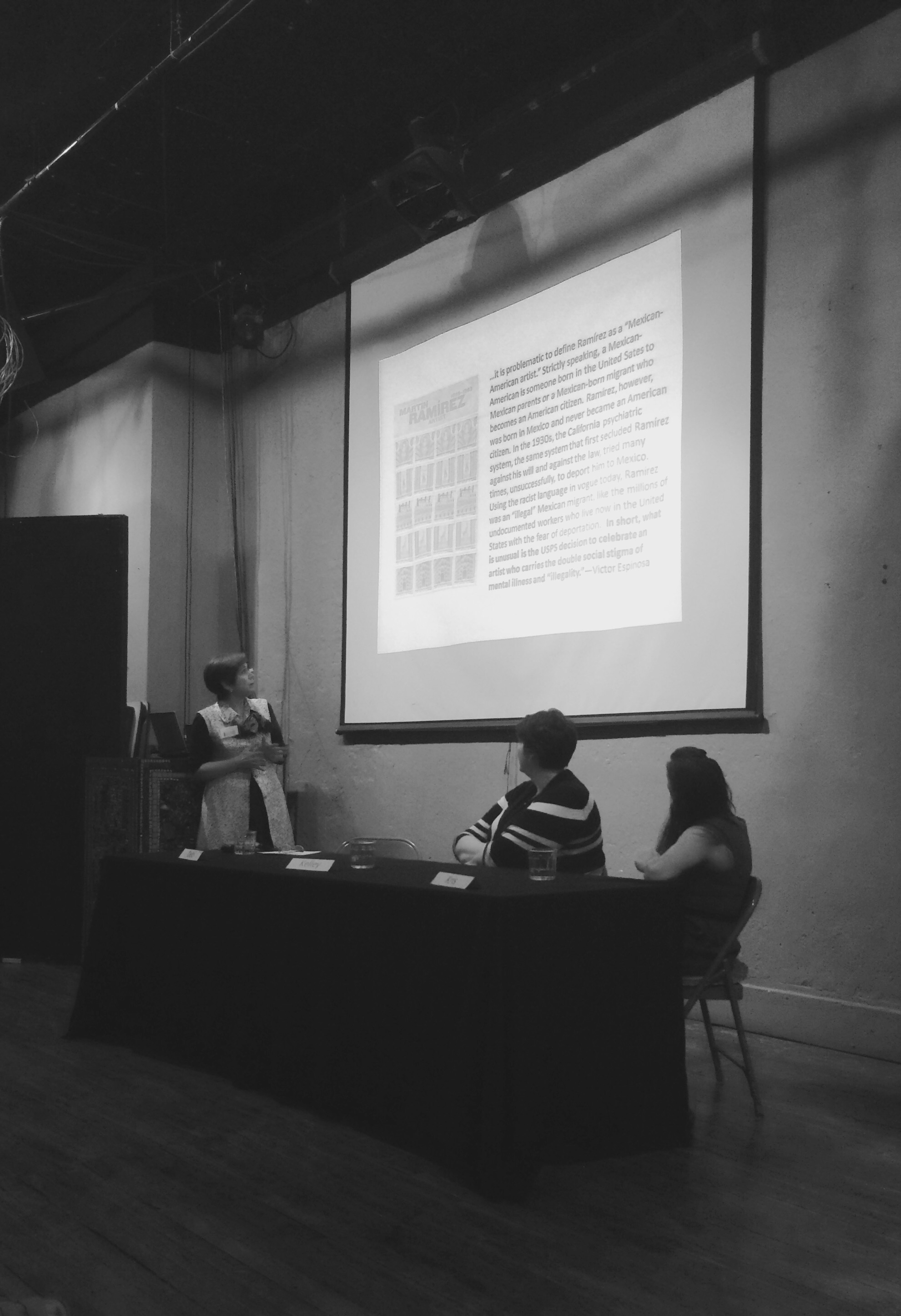 Deb discussing the challenge and dishonesty of labeling and claiming ownership to Martin Ramirez as a Mexican American outsider artist.