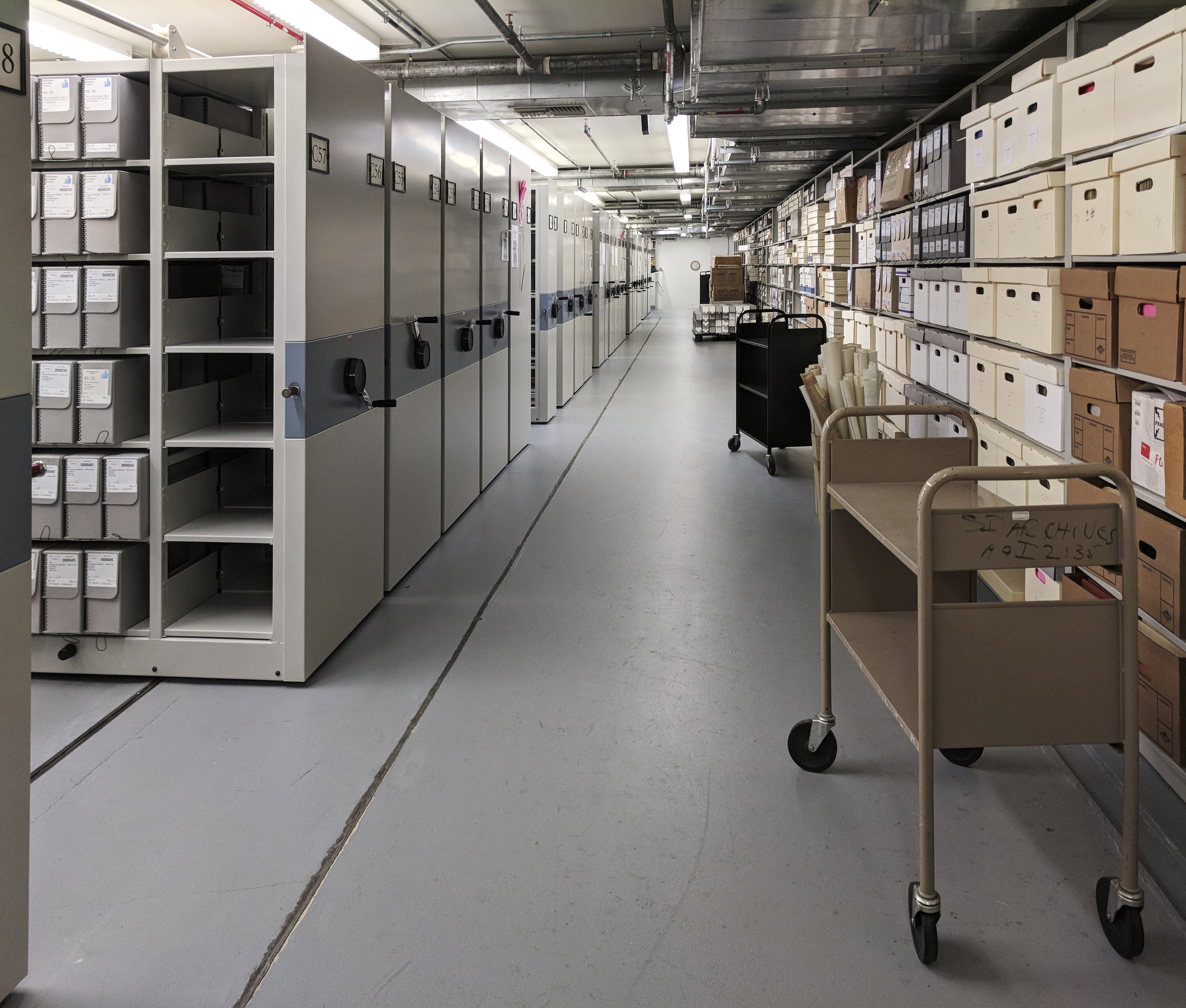 Storage in the Institutional Archives office building