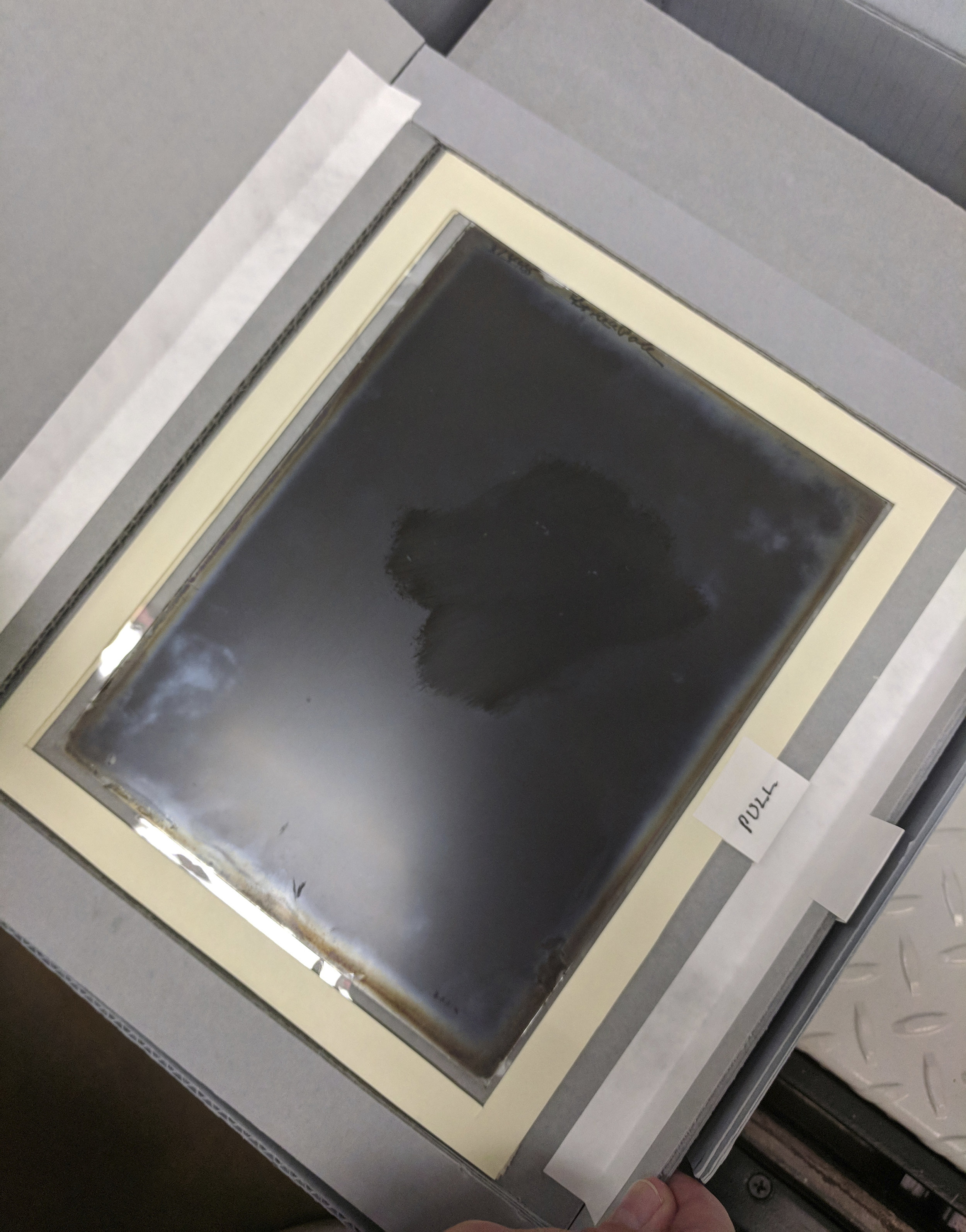 Custom housing for glass plate negatives: mylar support to allow viewing and reduce handling