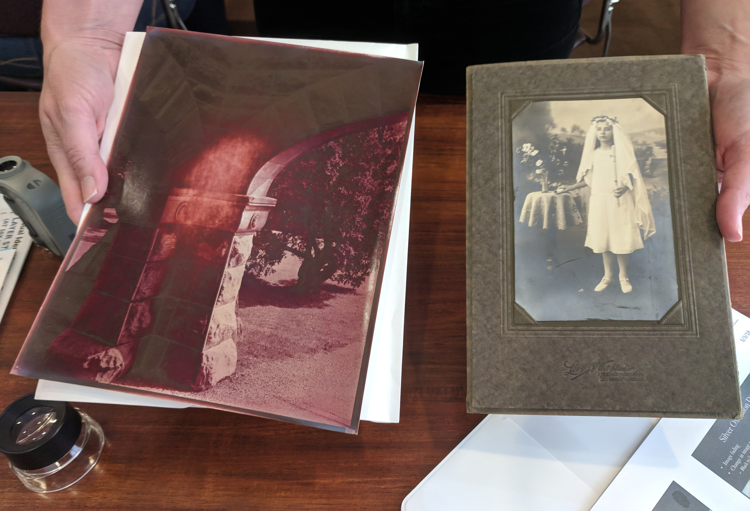 Comparing bronzing with an overexposed POP print with silver mirroring on a degrading DOP print.