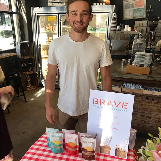 New product alert! Cooper from Brave is here to demo out his new overnight oats. They're super easy to make and come in three delicious flavors. Come by and say hey! @eatbrave #oats