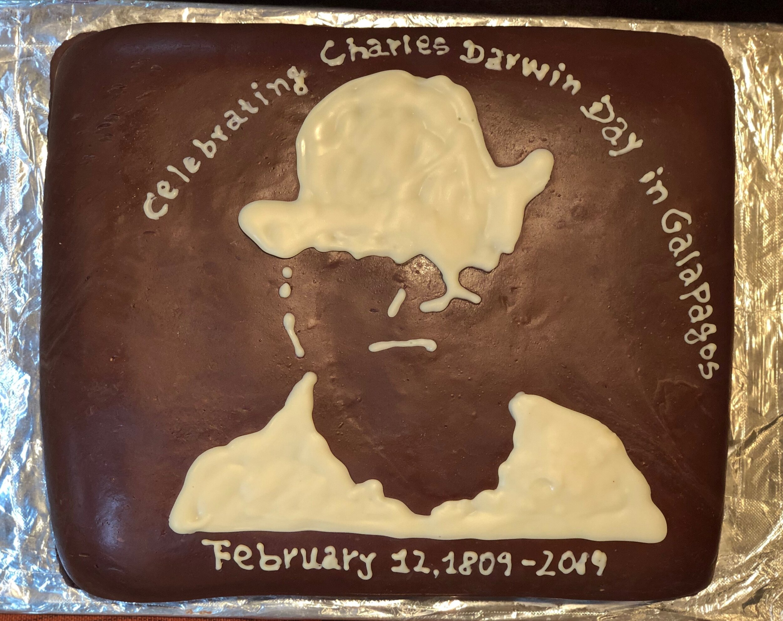 La Pinta's chef made this cake in honor of Darwin Day.