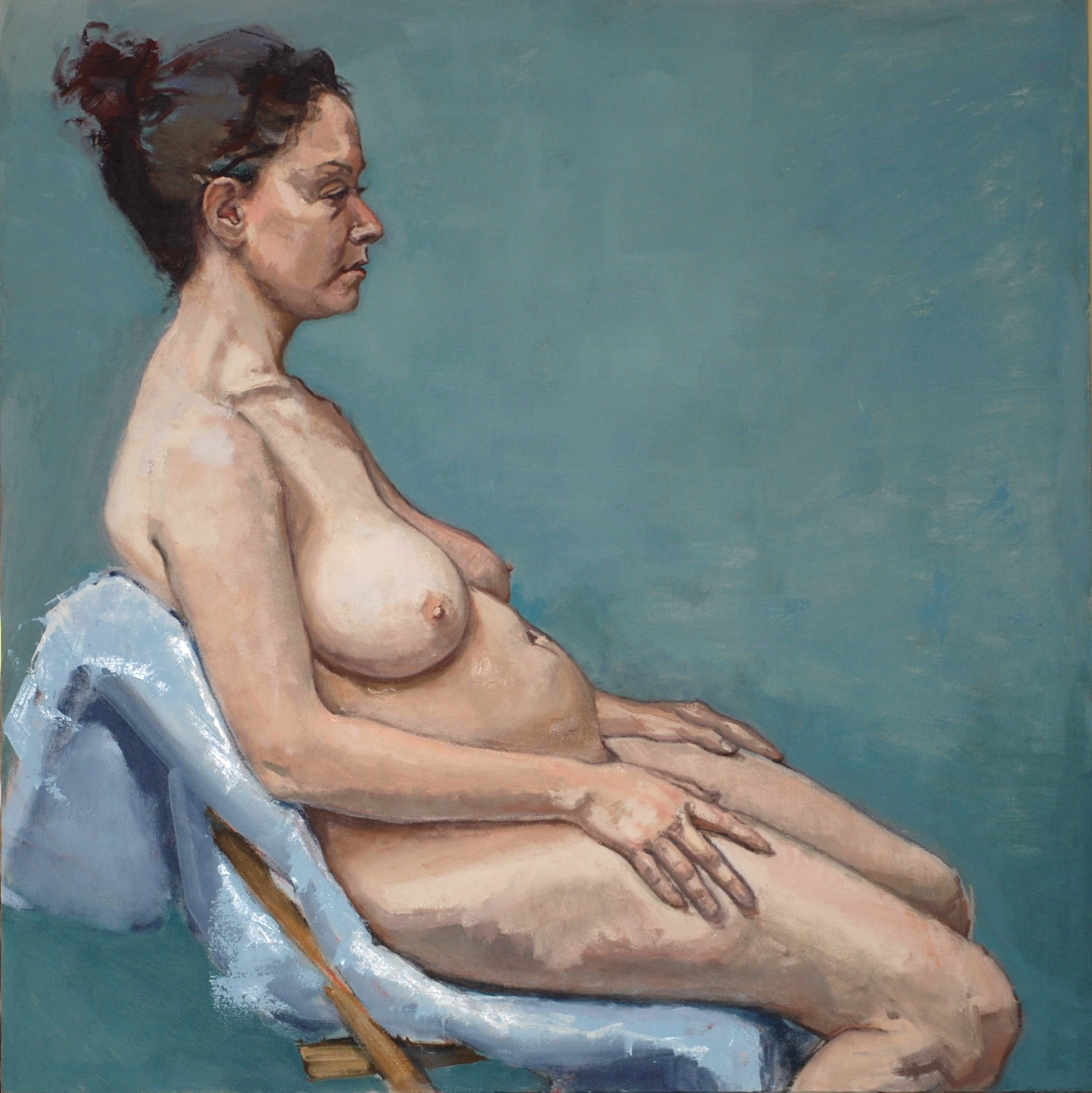 """Seated Nude (Blue Background)"""