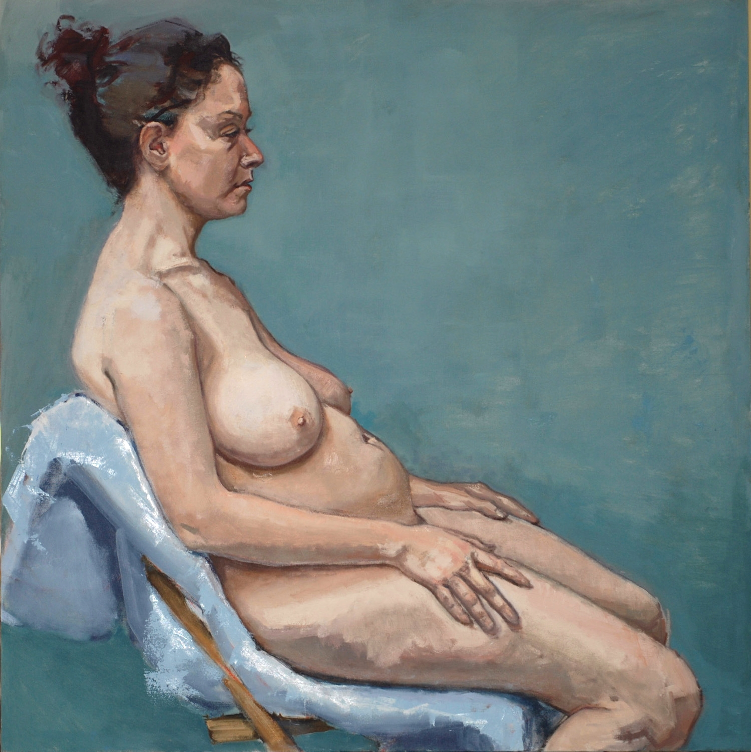 """""""Seated Nude (Blue Background)"""""""