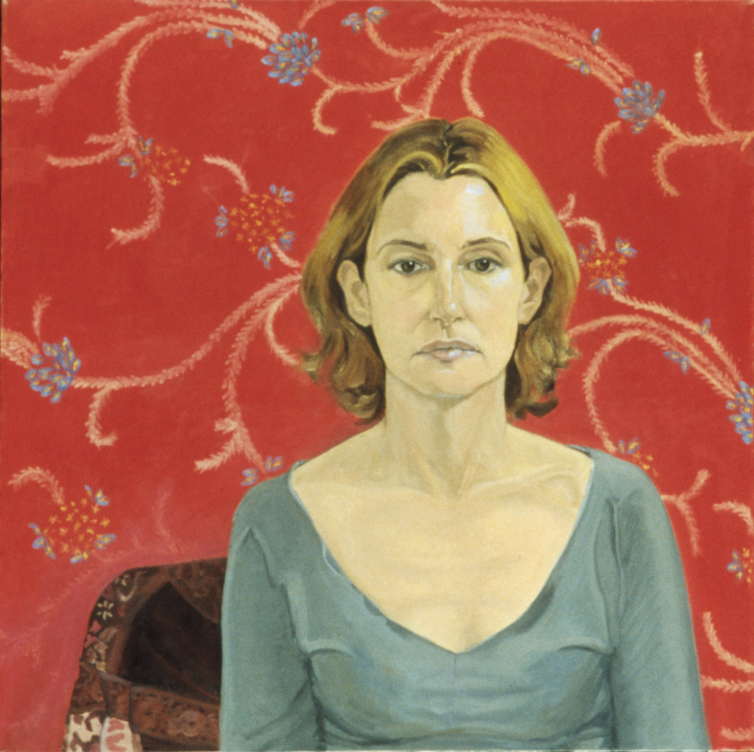 """""""Self Portrait (Print Background)""""  Oil on canvas, 30 in x 30 in, 2003"""