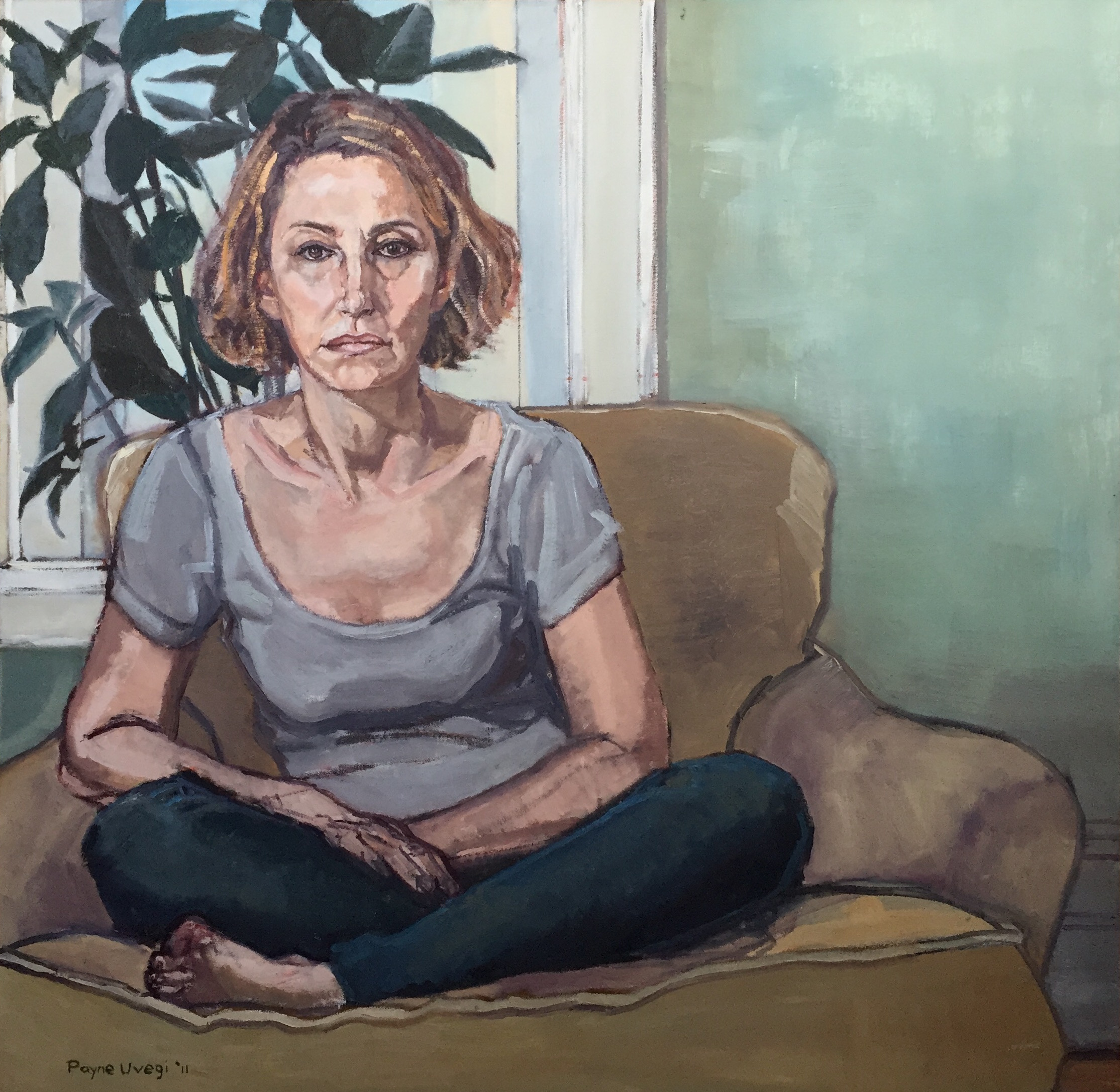 """Self Portrait Seated, Cross-Legged (with Plant)""  Oil on canvas, 39 in x 39 in, 2011"