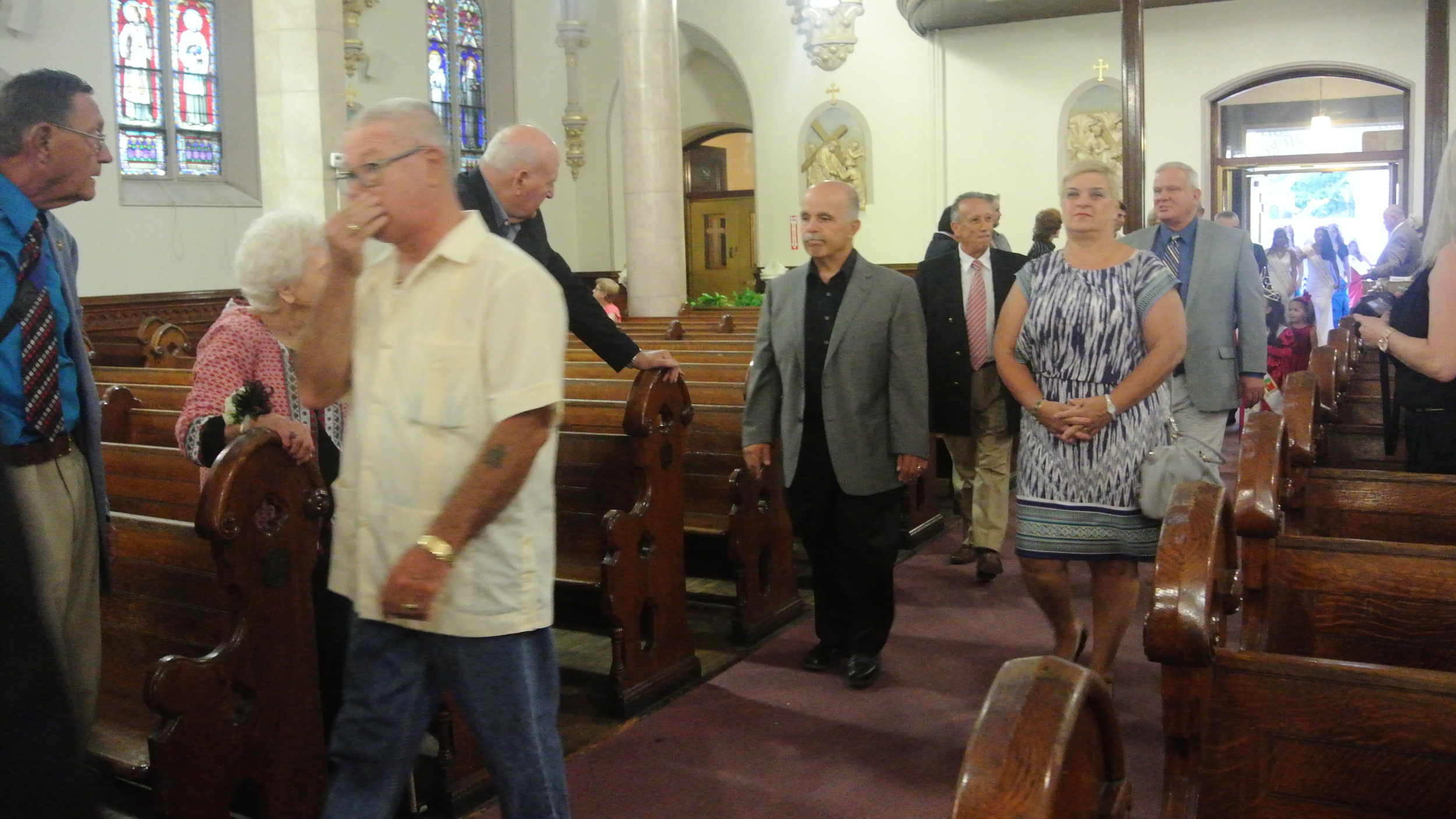 Councilman Michael Dolaghan, Laurence Bennett, Francisco Nascimento, James Doran and Councilwoman Carol Mandaglio at Holy Cross Church in Harrison