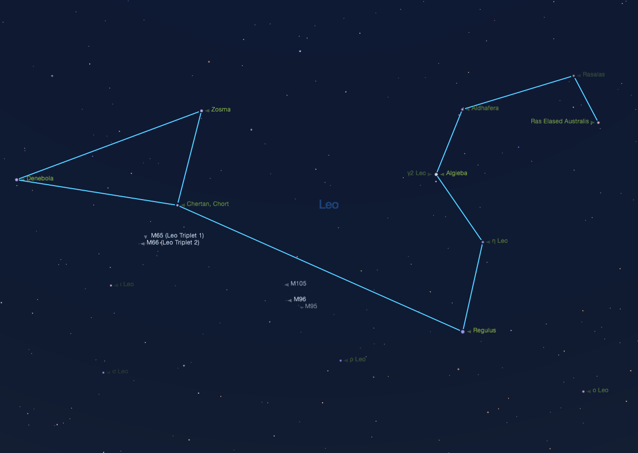 Leo galaxies as seen from mid-northern latitudes on May 10 at 9:30 p.m.