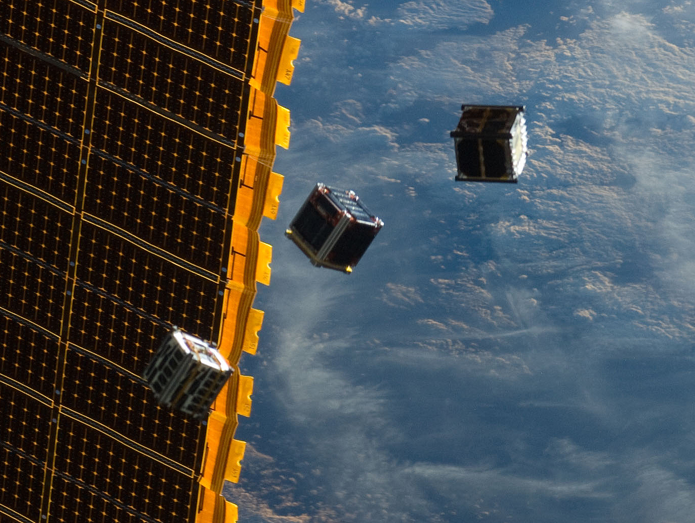 CubeSats in space.