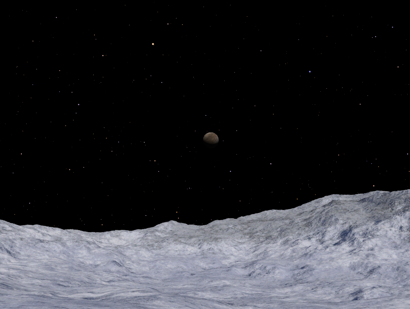 Charon as seen from the surface of Pluto.