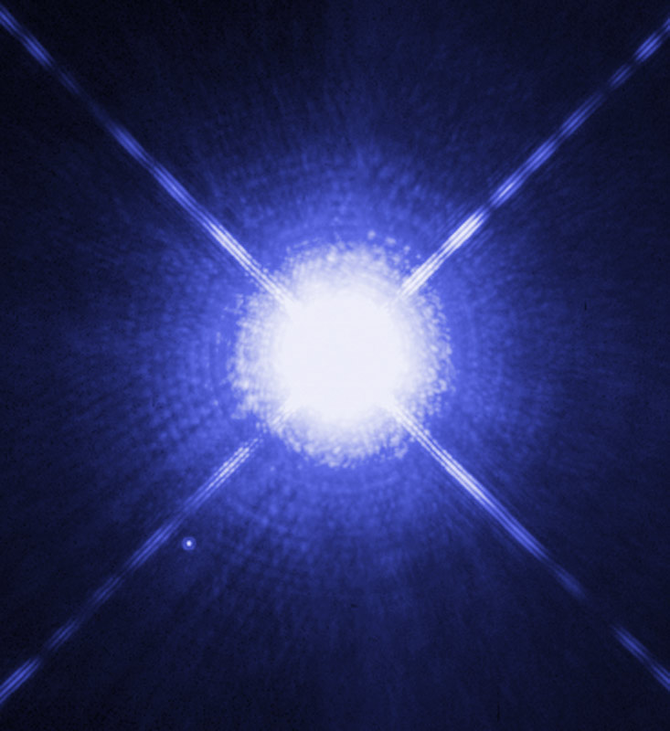 This Hubble Space Telescope image shows Sirius A, the brightest star in our nighttime sky, along with its faint, tiny stellar companion, Sirius B.