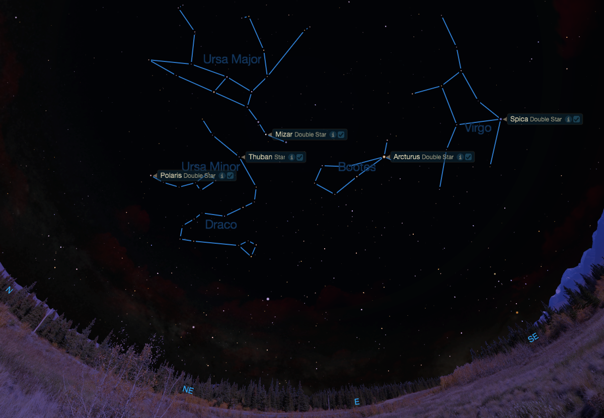 Polaris to Arcturus and on to Spicaas seen from mid-northern latitudes one hour after sunset.
