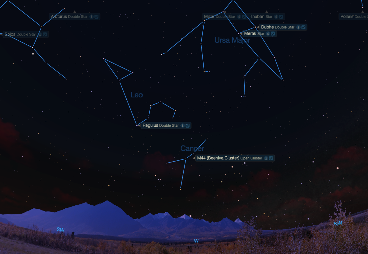 The Beehive Cluster in Cancer as seen from mid-northern latitudes one hour after sunset.