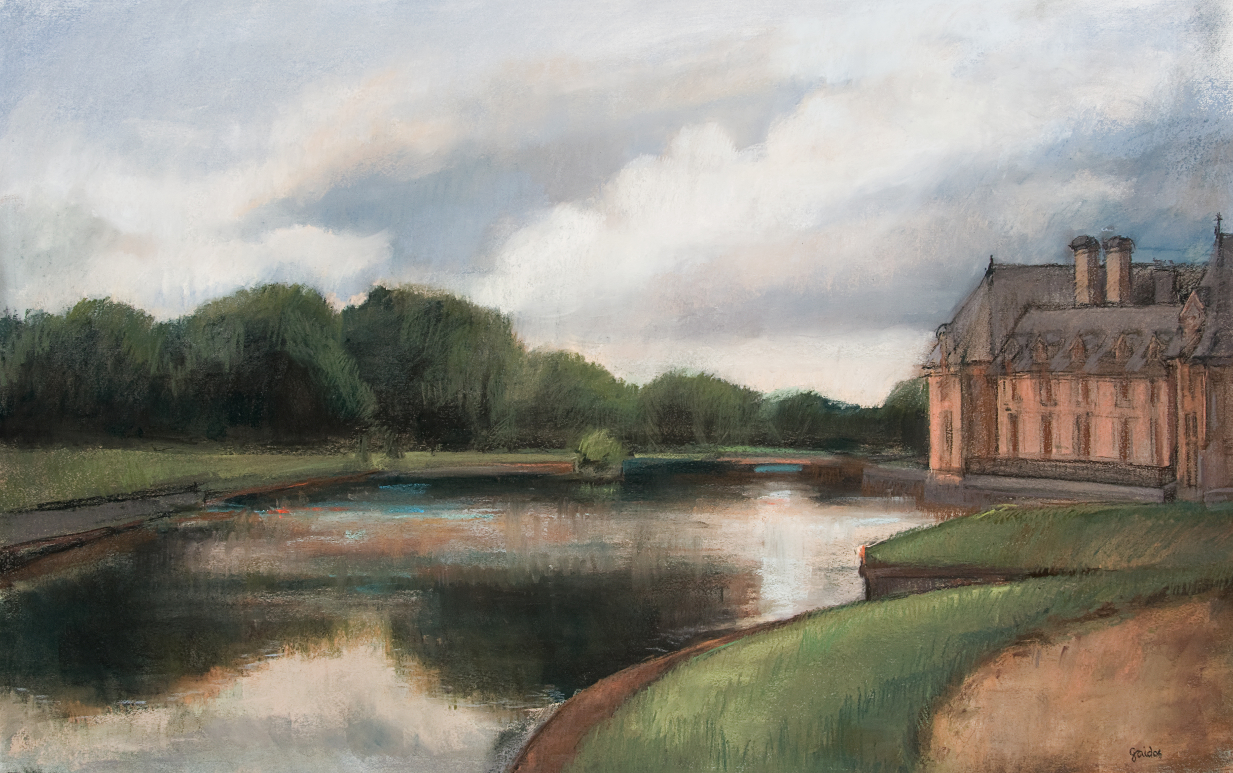 """Glimpse of Chateau d'Chantilly and Moat 54 x 40"""""""