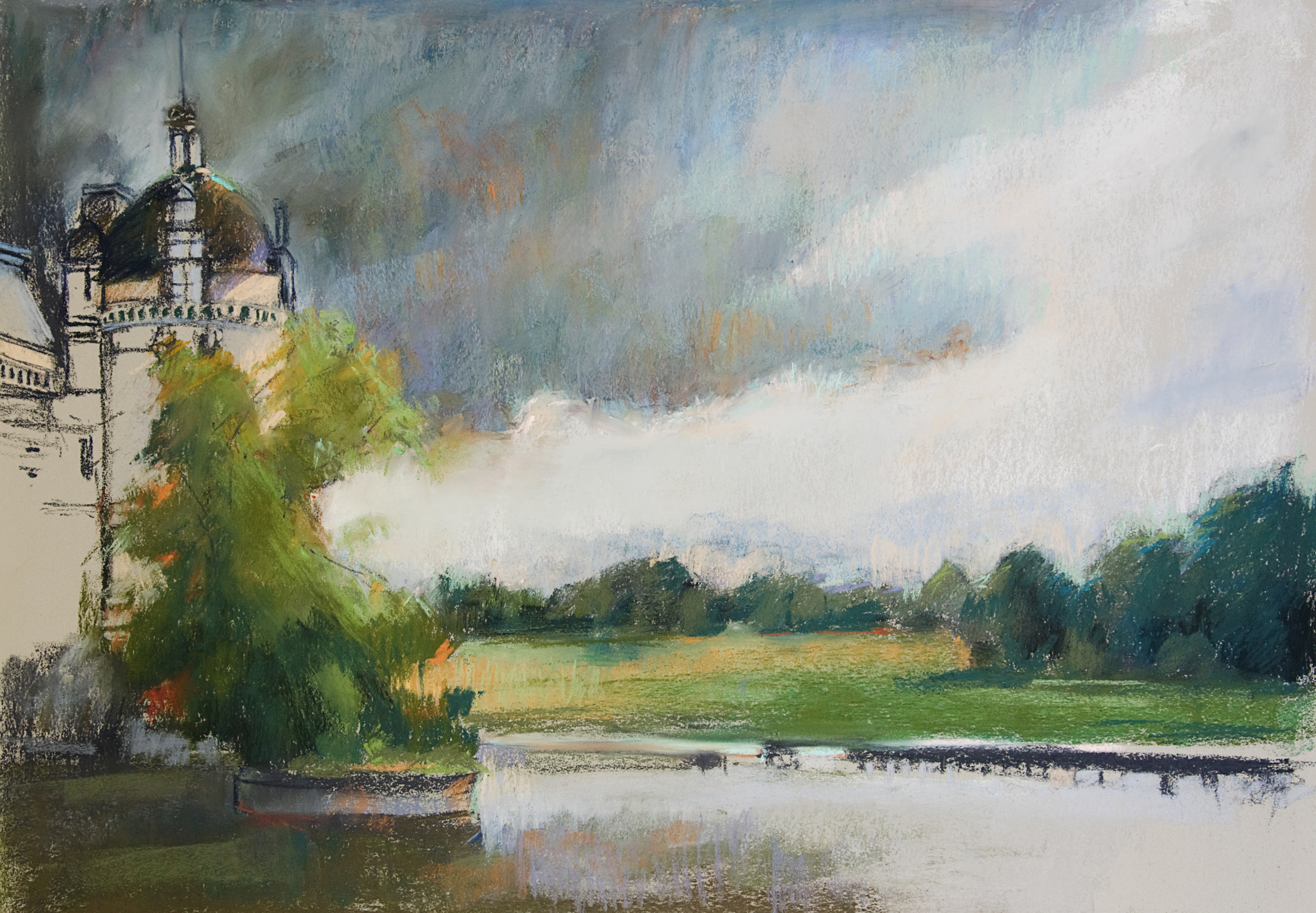 """Storm Abating Chateau d'Chantilly 28 x 30"""""""